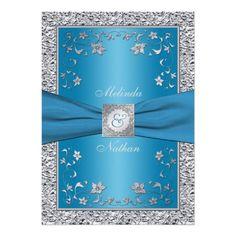 Blue and Silver Foil Monogram Wedding Invitation