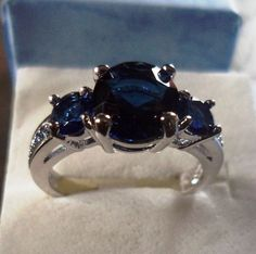 Beautiful Royal Blue White GP Cocktail Silver Ring Sz 9 #Unbranded #ThreeStone