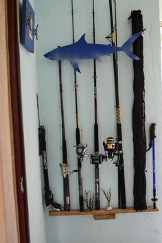 fishing rod storage...Shark. Rustic simple decor. Beach house.  Nautical style. Coastal living. Vintage apartment. Storage, holder, speargun