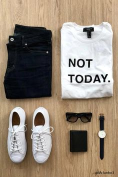 """A knit tee featuring a center """"Not Today."""" front graphic, distressed details, a crew neck, and short sleeves."""