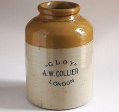 Large vintage stoneware 'Gloy' glue pot, A. W. Collier, London