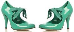 green patent 'Athena' ribbon tie pumps