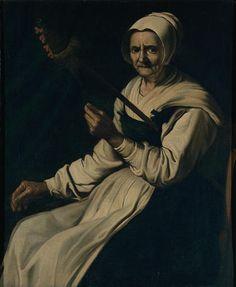 Mujer de edad avanzada la hilatura - Francisco de Zurbarán