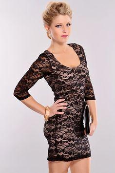 c1504aa8648e Black Beige Lace Mesh Party Dress   Sexy Clubwear