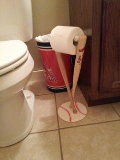 Baseball home decor on pinterest baseball bats baseball for Baseball bathroom ideas