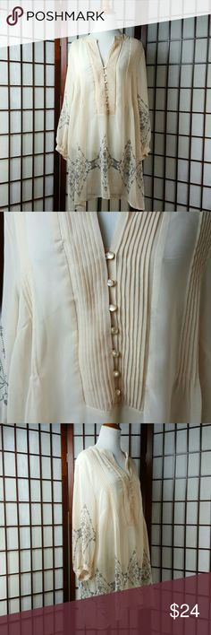 """Cream COVINGTON Chiffon Blouse Size 16/18W New with tags Covington Woman Size 16/18W Cream color Chiffon Blouse style Made of polyester  See photos for more details. Nice top!!!  Measurements  Pit to pit 24"""" Shoulder to hem 32"""" Covington Tops Blouses"""