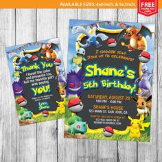 Pokemon Invitations Pokemon Birthday Pokemon by MrGeniusInvites