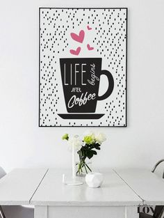Coffee Print Coffee Poster Life Begins After by LovelyPosters