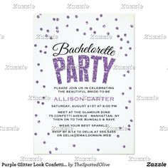 Purple Glitter Look Confetti Bachelorette Party