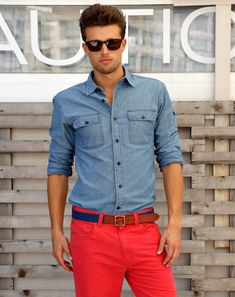 Red pants and the classic denim top from Nautica....ready for the beach/boat! Love the red pants