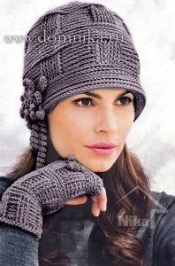I always enjoy an elegant crochet look and this hat and fingerless glove fit that category.Crochet hat/Mittens - pattern not in English.Wish I could read russian this is lovelyHat, Crocheted Flowering Hat Making muy coqueto - will have to try Crochet Flower Hat, Crochet Gloves, Flower Hats, Crochet Beanie, Knit Or Crochet, Crochet Crafts, Crochet Projects, Knitted Hats, Sombrero A Crochet