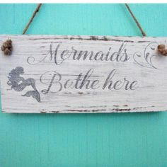 This beach sign features a mermaid and a beautiful scroll font. This Mermaid bathroom sign was created from driftwood we collected near our home and would look perfect in that beach bathroom. This sign would also make a great housewarming gift. Mermaid Bathroom Decor, Mermaid Room, Bathroom Signs, Bathroom Ideas, Bathroom Renovations, Coastal Homes, Coastal Decor, Coastal Living, Beach Bathrooms