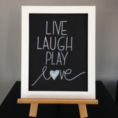 Live Laugh Play Love Black and white wall by AutumnGreyDesigns, $13.00