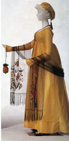 "Two Nerdy History Girls: Perfect Pineapple: A Knitted Regency Reticule (the pineapple), c 1800 ""The gown is French, c 1800, of silk taffeta with a drawstring waist. The shawl is silk net with an embroidered floral motif and silk fringe, and the hat is also silk net and pongee with a tassel."""