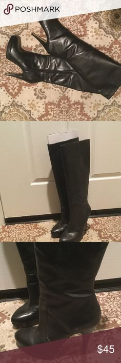 Sexy INC Black Leather Knee High Heel Boots It doesn't get much sexier than these. hi heeled black leather with a small platform and for it she'll excellent condition no dings or scratches in leather worn three times, inside half zipper for easy on and off.  Please no trades or lowball offers✨ INC International Concepts Shoes Heeled Boots