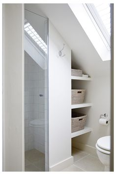 Attic Shower, Small Attic Bathroom, Upstairs Bathrooms, Loft Ensuite, Loft Bathroom, Garden Bathroom, Tiny Loft, Small Loft, Loft Conversion Bedroom