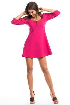 İroni Önü Fermuarlı Fuşya Renk Mini Elbise