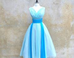 1950s prom dress - 50s formal dress - baby blue chiffon party dress - small /  medium