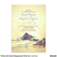 "Watercolor Beach Engagement Party Invitation 5"" X 7"" Invitation Card"