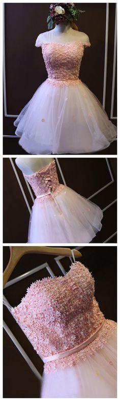 Short White tulle homecoming dress,pink cute lovely popular homecoming dress…