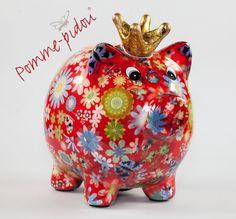 Pomme Pidou Schwein mit Krone dunkelrot Blumen