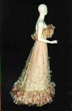Balmain Haute Couture evening gown from 1966 flower petal ruffles long dress. Pierre Balmain House of Balmain.