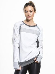 The Mesh Mix Pullover by BLANC NOIR brings a laid-back sophistication to your wardrobe. With a loose-fitting style, mesh ventilation panels are featured along the arms and back, and the thumbholes at the wrist offer a snug appearance. Women's Leggings, Lounge Wear, High Fashion, Active Wear, Ready To Wear, Long Sleeve Tees, Mesh, Pullover, Athleisure
