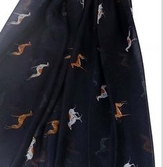 Navy Greyhound Dog or Whippet Print Women's Scarf