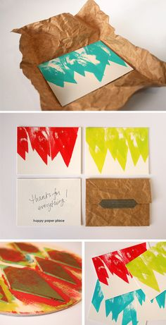 Hand printed Notecards via Happy Paper Place