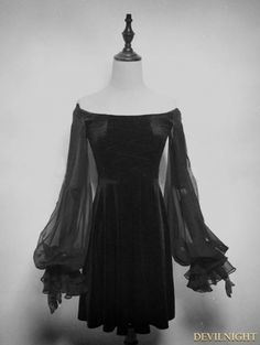 Black Velvet Long Sleeves Short Gothic Dress - Devilnight.co.uk