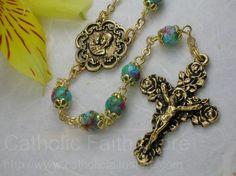 Ghirelli Aquamarine Glass Rosary with Goldtone Pendant : GHE0011 #catholicfaithstore