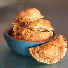 Cheese-crusted chicken empanadas made with your favorite BBQ sauce! #foodgawker