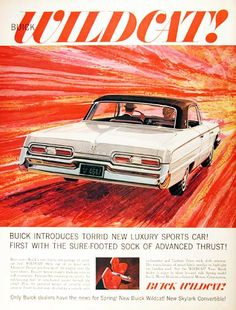 1962 Buick Wildcat Coupe original vintage advertisement. Illustrated in vibrant color.