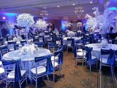 Beautiful Royal Blue Wedding Decorations, Blue Wedding Centerpieces, Quince Decorations, Quinceanera Planning, Quinceanera Decorations, Wedding Chairs, Wedding Table, Our Wedding, Blue Silver Weddings
