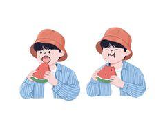 Kawaii Drawings, Cute Drawings, Nct, Character Design Teen, Cute Art Styles, Mark Lee, Korean Art, Cute Illustration, Aesthetic Art