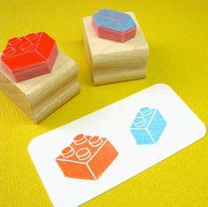 Building Blocks Hand Carved Rubber Stamp