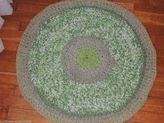 "Hand Made Crochet Rag Rug ~NEW 32"" WATERMELON RINE & GREEN SQUASH ~ COUNTRY CHIC"