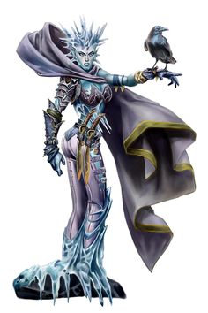 Female Human Ice Witch - Pathfinder PFRPG DND D&D d20 fantasy