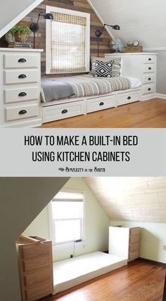This built-in bed has tons of storage! It was made using stock kitchen cabinets on both sides and a bed platform using the building plans in the post. Roll out trundle drawers add even more storage. I love the rustic shiplap wall in this attic bedroom! Home Renovation, Home Remodeling, Bathroom Renovations, Stock Kitchen Cabinets, Base Cabinets, Storage Cabinets, Diy Casa, Couch Furniture, Furniture Design