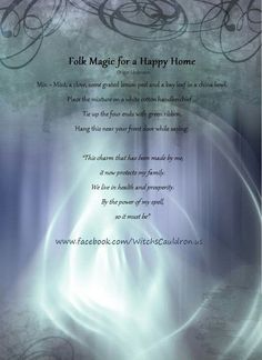 Magic Spells: Folk Magic for a Happy Home. Wiccan Witch, Wicca Witchcraft, Magick Spells, Moon Spells, Healing Spells, Chakra Healing, Protection Spells, Door Protection, Practical Magic