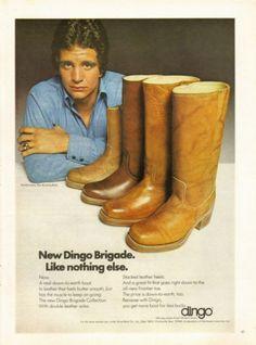1975 Advertisement Ed Marinaro Dingo Boots NFL Football Minnesota Vikings NY Jets Joe Coffey Hill Street Blues Fashion Wall Art Decor Blue Fashion, Fashion Boots, Fashion Outfits, Vintage Advertisements, Vintage Ads, Vintage Style, Acme Boots, Dingo Boots, Good Old Times