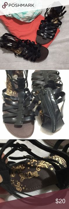 Brash Gladiator Sandals Size 11 NWT Zip closure at the back of the heel. Adjustable with the 3 buckle straps at the ankle. All man made materials.   Size 11 Bin S1 Brash Shoes Sandals