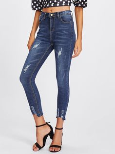 Raw Hem Ripped Jeans -SheIn(Sheinside)