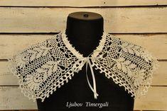Crochet collar Crochet cream necklace Detachable collar Boho necklace Crochet ivory jewelry Vintage bride Eco fashion Handmade Gift for her