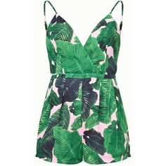 Pink Palm Print Plunge Playsuit (133.000 COP) ❤ liked on Polyvore featuring jumpsuits, rompers, palm print romper, playsuit romper, pink romper, green romper and green rompers