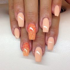 Most Popular Acrylic Nails - Nail Designs - Nail Art Get Nails, Fancy Nails, Hair And Nails, Fabulous Nails, Gorgeous Nails, Pretty Nails, Peach Acrylic Nails, Peach Nails, Orange Nails