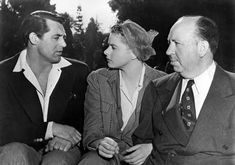 Cary Grant, Ingrid Bergman, and Alfred Hitchcock on the set of Notorious, 1946.