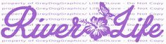 River Life with Hibiscus and Butterfly in Center Vinyl Decal Sticker