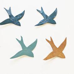 Flock 10 ceramic wall art swallows Peacock teal blue merlot