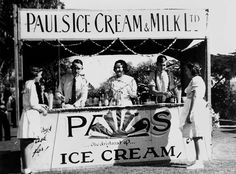 Picture of / about 'Brisbane' Queensland - Group of men and women working from a Pauls Ice Cream and Milk stall in Brisbane Brisbane Queensland, Old Signs, Men And Women, Ancestry, Vintage Ads, Signage, Nostalgia, Milk, Ice Cream